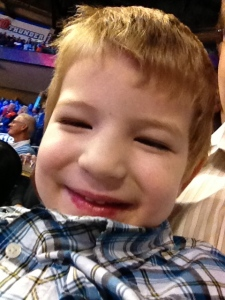My son Jason and I enjoying an OKC Thunder game!